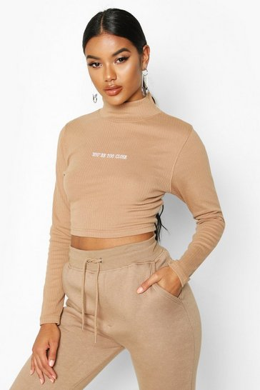 Womens Camel Long Sleeve Slogan High Neck Rib Crop