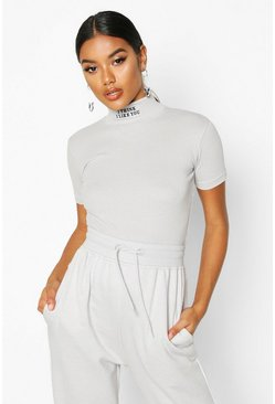 Womens Grey Slogan Embroidered High Neck Crop