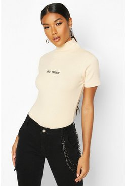 Dam Stone Rib Slogan High Neck Cap Sleeve Top