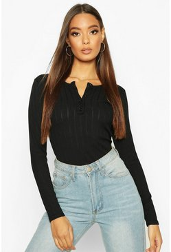 Womens Black Long Sleeve Ribbed Button Up Bodysuit