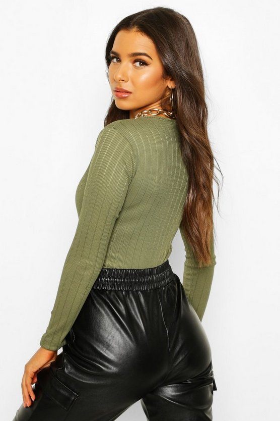 Long Sleeve Ribbed Button Up Bodysuit