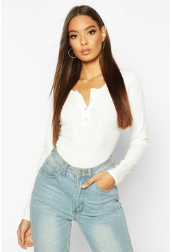 Womens White Long Sleeve Ribbed Button Up Bodysuit