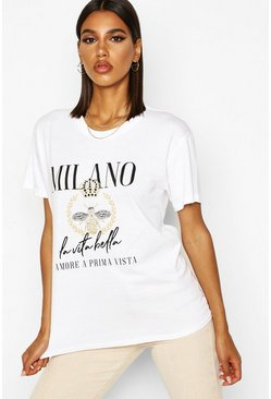 T-Shirt mit Milan-Slogan, White, Damen