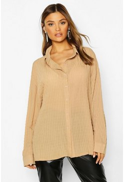 Womens Camel Shirred Oversized Shirt