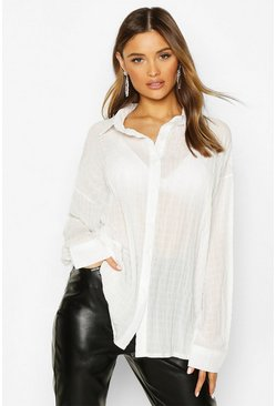 Womens White Shirred Oversized Shirt