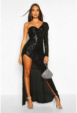 Womens Black Sequin One Shoulder Cupped Split Maxi Dress