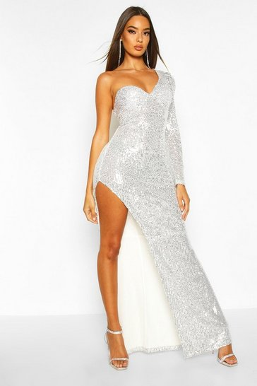 Silver Sequin One Shoulder Cupped Split Maxi Dress