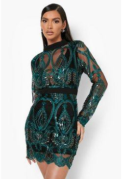 Womens Green Sequin Damask Cupped Mini Dress