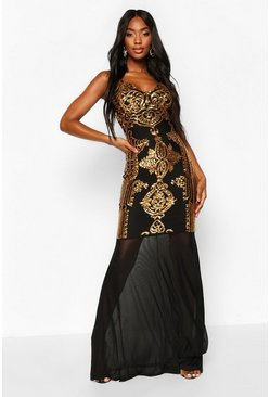 Womens Black Sequin Demask Plunge Mesh Fishtail Maxi Dress