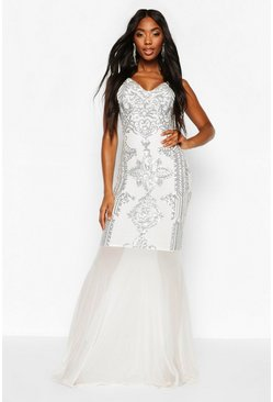 Dam White Sequin Demask Plunge Mesh Fishtail Maxi Dress