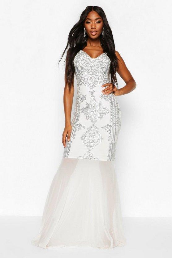 Sequin Demask Plunge Mesh Fishtail Maxi Dress