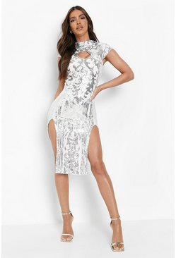 White Sequin High Neck Double Split Midi Dress