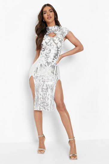 Womens White Sequin High Neck Double Split Midi Dress