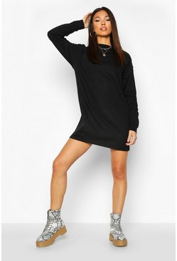 Womens Black Ruched Sleeve Sweatshirt Dress