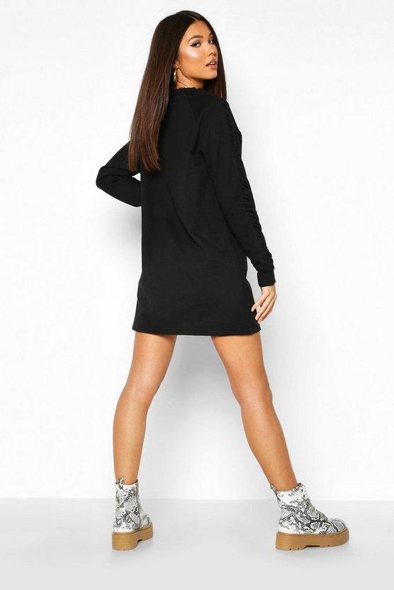 Ruched Sleeve Sweatshirt Dress