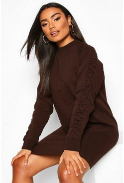 Womens Chocolate Ruched Sleeve Sweatshirt Dress