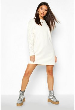Womens Ecru Ruched Sleeve Sweatshirt Dress