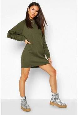 Womens Olive Ruched Sleeve Sweatshirt Dress