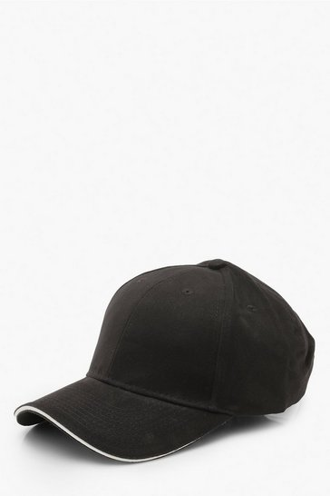 Womens Black Plain Cap