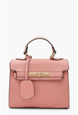 Womens Pink Structured Mini Lock Crossbody Bag