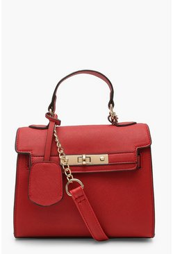 Dam Red Structured Mini Lock Crossbody Bag