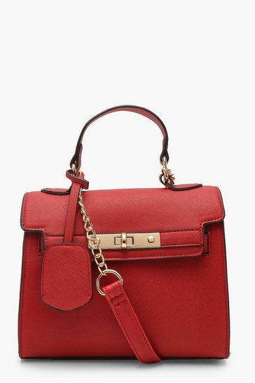 Womens Red Structured Mini Lock Crossbody Bag