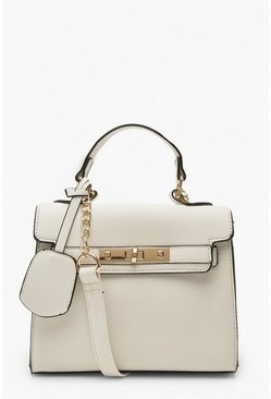 Dam White Structured Mini Lock Crossbody Bag