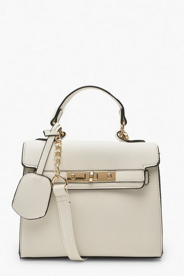 Womens White Structured Mini Lock Crossbody Bag