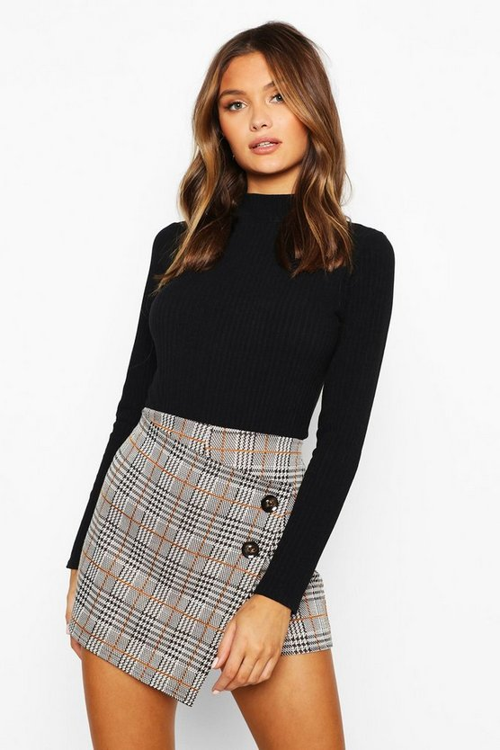 Womens Tan Check Skort With Buttons