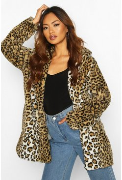 Brown Leopard Oversized Faux Fur Coat