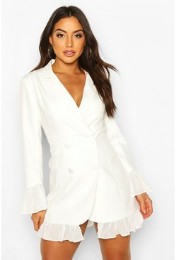Ivory Ruffle Hem Blazer Dress