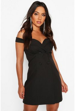 Womens Black Off The Shoulder Fitted Blazer Dress