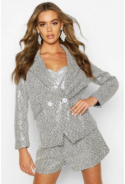 Black Sequin Tweed Double Breasted Blazer