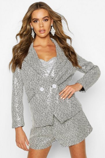 Womens Black Sequin Tweed Double Breasted Blazer