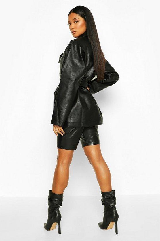 Oversized Leather Look Jacket