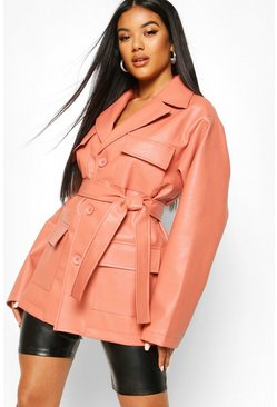 Womens Dusky pink Oversized Leather Look Jacket