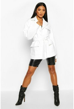 Womens White Oversized Leather Look Jacket