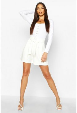 Womens Ivory O Ring Detail Tailored Short