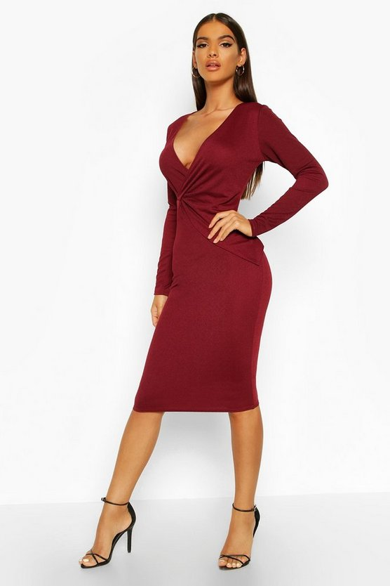 Womens Berry Wrap Front Long Sleeve Midi Dress