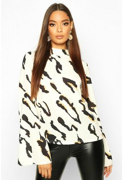 Cream Leopard High Neck Flare Sleeve Blouse