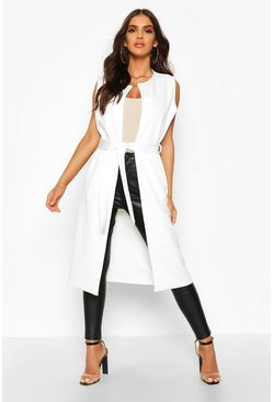 Womens Ivory Collarless Belted Sleeveless Blazer