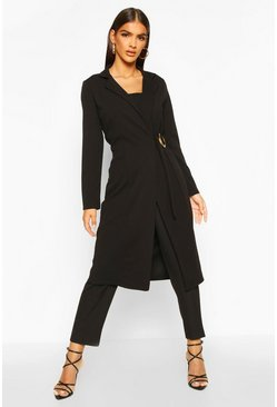 Womens Black O Ring Detail Duster Coat