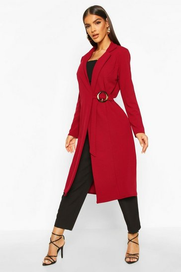 Womens Wine O Ring Detail Duster Coat