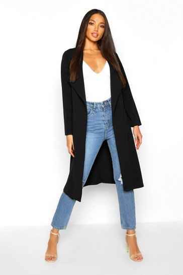 Womens Black Utility Pocket Belted Duster