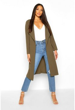 Khaki Utility Pocket Belted Duster