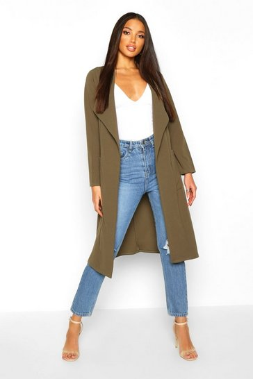 Womens Khaki Utility Pocket Belted Duster