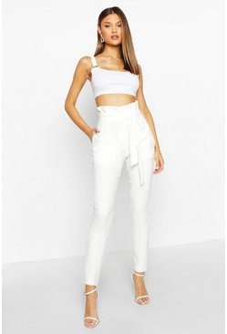 Womens Cream Paperbag Belted Woven Trouser
