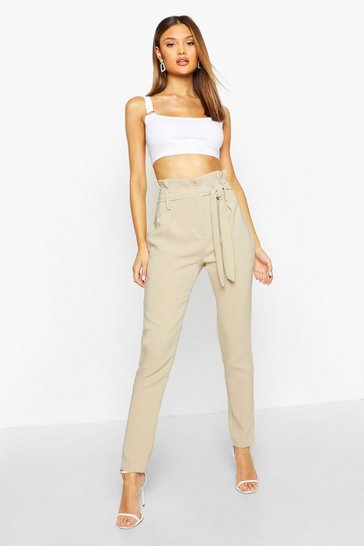 Stone Paperbag Belted Woven Trouser