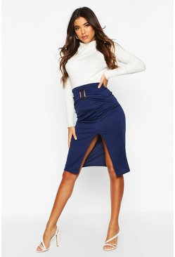 Womens Navy Belted Split Tailored Skirt