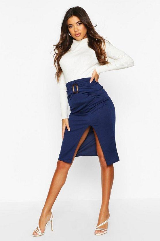 Belted Split Tailored Skirt